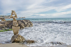 Construction of stones. In the beach Stock Image