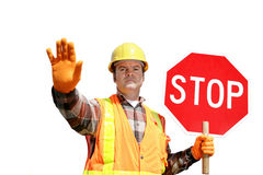 Construction Stop Isolated stock photo