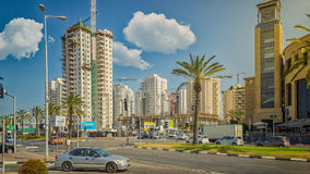 Construction of 26-story condominium in Holon. Holon, Israel - May 26, 2016: Construction of modern high-rise building Minrav Tower in the city center. 26-story Stock Photography