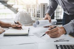 Construction and structure concept of Engineer or architect meet royalty free stock image