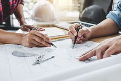 Construction and structure concept of Engineer or architect meet royalty free stock photo