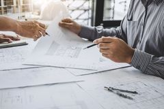 Construction and structure concept of Engineer or architect meet stock photos