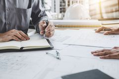 Construction and structure concept of Engineer or architect meet stock images