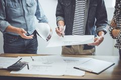 Construction and structure concept of Engineer or architect meeting for project working with partner and engineering tools on stock photography