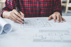 Construction and structure concept, Hands of architect or engine royalty free stock images