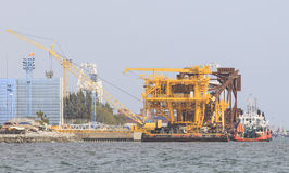 Construction structure of Offshore platform petroleum site plant Royalty Free Stock Photo
