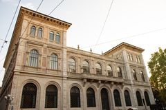The construction of the sumptuous palace for the new headquarters of the Cassa di Risparmio di Bologna stock photography