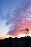 Construction and sunset royalty free stock image