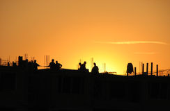 Construction sunset. Photograph of a construction sight in a sunset Royalty Free Stock Photo