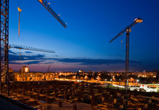 Construction after the sunset Stock Photography