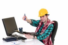 Construction supervisor office Stock Photo