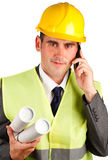 Construction supervisor with plans Stock Image