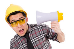 Construction supervisor shouting Royalty Free Stock Photo