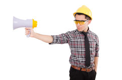 Construction supervisor shouting Royalty Free Stock Photography