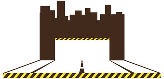 Construction symbol with road and urban landscape Royalty Free Stock Images