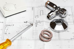Construction symbol. Some different tools for home interior construction Royalty Free Stock Photos