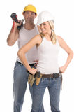 Construction Team. A unisex construction team Royalty Free Stock Photo
