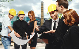 Construction team at business meeting Stock Photos