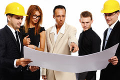 Construction team at business meeting. Royalty Free Stock Photos