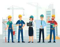 Free Construction Team. Engineering And Constructions Workers, Building Engineers Group And Technicians People Cartoon Vector Royalty Free Stock Photography - 160548217