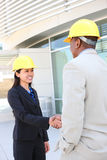 Construction Team Handshake Stock Images