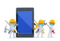 Construction team with tablet computer. Isolated. Contains clipping path Royalty Free Stock Photo