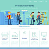 Construction Team Web Page Template. With specialists and list of services provided by professional workers vector illustration Royalty Free Stock Photos