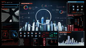 Construction technology, building city skyline and make city in digital display dashboard. vector illustration