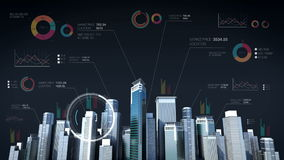 Construction technology. building city skyline and make city with economic chart, diagram.