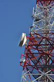 Construction of a telecommunications tower with antennas Stock Image