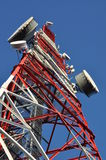 Construction of a telecommunications tower with antennas Royalty Free Stock Photography