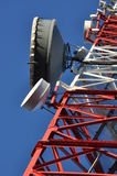 Construction of a telecommunications tower with antennas Royalty Free Stock Photos