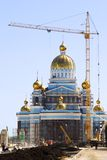 Construction of a temple. In Russia stock photography