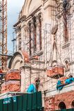 Construction of the temple in Vladivostok. royalty free stock image
