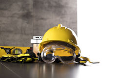 Construction theme. Different objects concerning professions: contractor, builder, constructor on the stone background and background Royalty Free Stock Image