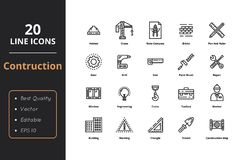 Construction thin line icon. 20 High Quality icon. Construction high quality 20 thin line icons. Icons for construction and engineering Royalty Free Stock Images
