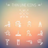 Construction thin line icon set Royalty Free Stock Photography