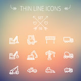 Construction thin line icon set Stock Photos