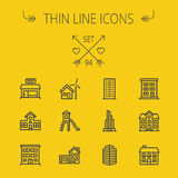 Construction thin line icon set. For web and mobile. Set includes -house, playhouse, house with garage, buildings, shop store. Modern minimalistic flat design Royalty Free Stock Image