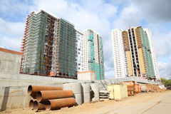 Construction of three high buildings Stock Photography