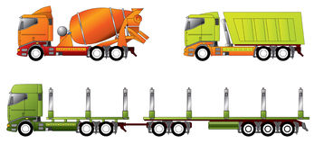 Construction and timber truck. Designs in different colors Royalty Free Stock Images