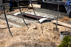 Construction of the tomb at the cemetery Royalty Free Stock Photos