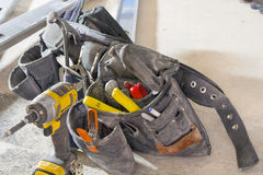 Construction Tool Belt. With Drill Hammer knife clamp and cutter royalty free stock photos