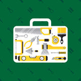 Construction tool in tool box on green background Stock Images