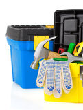 Construction toolbox and tools on white Stock Photo