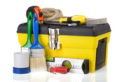Construction toolbox and tools on white Royalty Free Stock Photography