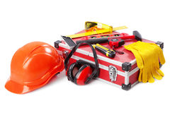 Construction toolkit. On white background Royalty Free Stock Photos