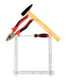 Construction tools. Equipment concept on white background isolated Royalty Free Stock Images
