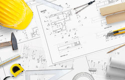 Construction tools and accessories for drawing projects and measurement. Free space for text Stock Photo