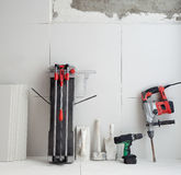 Construction tools as tiles cutter electric hammer drill Stock Photography